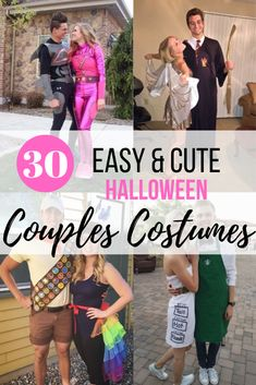 Halloween couples costumes with your loved one can be so much fun! Here are some creative, funny, and easy costumes for couples in college to recreate for Halloween! 30 Easy and Cute Couples Halloween Costumes Easy Couples Costumes, Unique Couple Halloween Costumes, Creative Halloween Costumes, Halloween Kostüm, Halloween Couples, Halloween Recipe, Group Costumes, Superhero Couples Costumes, Halloween Makeup
