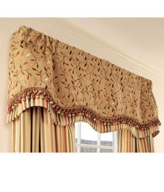 Blissfield vine lined Layered Scalloped valance at Country curtains