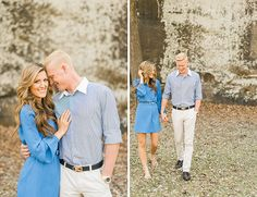 "This couple slipped on ""something blue"" and took to the riverside where they had their first date for an engagement photoshoot"