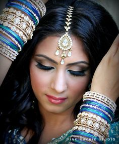 Indian bridal makeup, maang tikka, bridal bangles