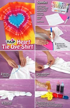 When it comes to tie-dye you cant go wrong. This groovy freestyle art is easi - Love Shirts - Ideas of Love Shirts - - When it comes to tie-dye you cant go wrong. This groovy freestyle art is easier than ever with this tutorial from Tulip! Tie Dye Folding Techniques, Diy Tie Dye Shirts, Tie Dye Kit, Tie Dye Crafts, How To Tie Dye, Tie Dye Designs, Tie Dye Patterns, Diy Clothing, Couture