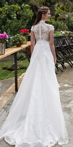 """Noya Bridal """"Aria"""" Collection Wedding Dresses -- romantic empire line wedding dress, illusion back view  #bridal #wedding #weddingdress #weddinggown #bridalgown #dreamgown #dreamdress #engaged #inspiration #bridalinspiration #weddinginspiration #romantic #illusion #back #empire"""