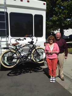 Living the life with Pedego electric bikes on the back of the motor home.  Congrats Mike and Theresa!