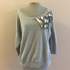 Cute Camo Bow Sweater Super cute gray sweater top with camo print bow by Wet Seal size XL. Wet Seal Tops Blouses