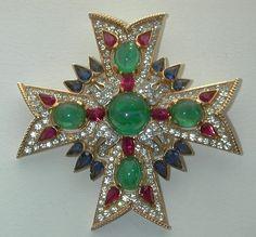 Trifari Jewels of India Maltese Cross Pin Rhinestones and Cabochons