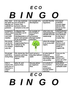 Need a fun way to help students review ecosystems vocabulary? This bingo game includes 5 different game cards. Key vocab words and concepts include...$2