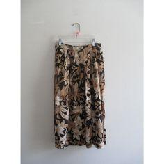 Vintage Black Brown Floral Print High Waist Midi Length Neutral Skirt Sz 10 Medium