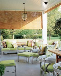 Steven Gambrel arranged furniture of his own design covered in bright lime green on the terrace of his first Sag Harbor retreat. Photo by William Waldron. Patio Blinds, Outdoor Blinds, Outdoor Rooms, Outdoor Living, Outdoor Furniture Sets, Outdoor Decor, Outdoor Lounge, Bamboo Curtains, Bamboo Blinds