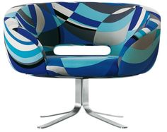 The Rive Droite Armchair was designed by Patrick Norguet for the Italian label Cappellini. With its vivid colours and imaginative printed design, it has a retro Art Furniture, Milan Furniture, Furniture Chairs, Funky Furniture, Furniture Design, Eileen Gray, Swivel Club Chairs, Swivel Armchair, Lounge Chairs
