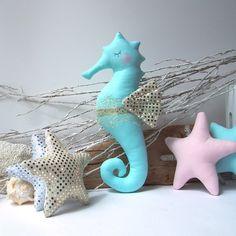 Plush Seahorse & starfish toys perfect for nautical nursery decor by CherryGardenDolls