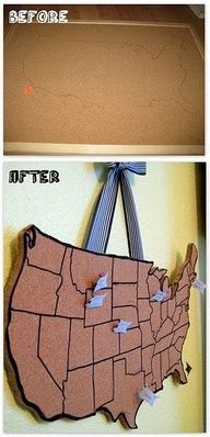 DIY travel board  But I want one of the whole world.  Bid day- have girls pin where they're from