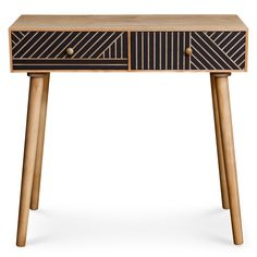 Consola Gerald 2 cajones color madera natural y negro Recycled Furniture, Bed Furniture, Petite Console, Console Table, Recycling, Retro, Design, Things To Sell, Home Decor