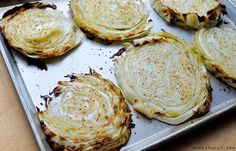 Oven Roasted Cabbage Steaks, sliced cabbage, oiive oil garlic seasoning, broiled, grilled cabbage, side dish, low-carb veggie dish, vegetarian side item....