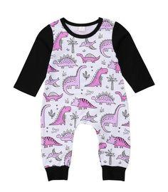 Pink Long Sleeve Baby Girl Dinosaur Romper #babygirllongsleeve