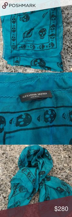Alexander McQueen turquoise scarf Never been worn Alexander McQueen blue/turquoise skull scarf! In perfect condition! NWOT Alexander McQueen Accessories Scarves & Wraps
