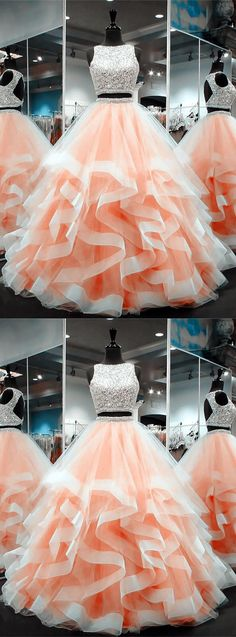 coral prom dresses, ball gowns prom dress, two piece prom dress, 2 piece prom dress Prom Dresses Two Piece, A Line Prom Dresses, Homecoming Dresses, Dress Prom, 8th Grade Prom Dresses, Dress Piece, Prom Outfits, Pageant Dresses, Spring Outfits