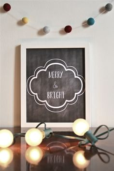 Free Printable Print - Merry and bright printable // e tells tales.