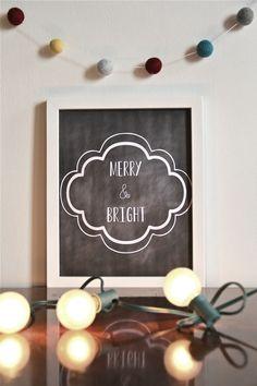 Free Printable Print - Merry and bright printable // e tells tales.