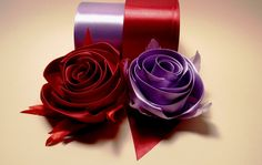 Ribbon flowers how to make:rose from satin ribbon/tutorial/Цветы из лент...