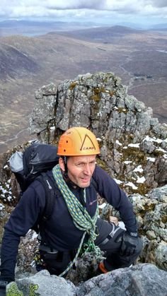 Climbing Curved Ridge on the Buichalle, Scotland. A great mountaineering route. Jeremy Gane and Richard Pyne. May 2015.