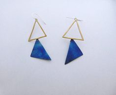 Triangle Dangle Earrings Titanium Triangle Earrings Sterling