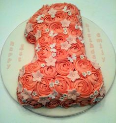 Vanilla sponge number 1 birthday cake with pink buttercream roses and sugar paste flowers :o)