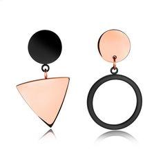 Art Deco Geometric Gold & Black Shapes Triangle Earrings Drop