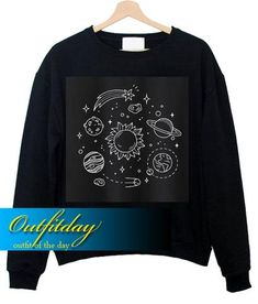 Cosmos Solar System Sweater Funny Sweatshirt Ez025 – outfitday Funny Sweatshirts, Direct To Garment Printer, Solar System, Cosmos, Shirt Style, Embroidery, Clothing, How To Make, Sweaters