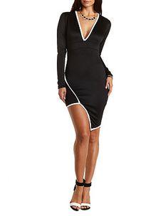 Long Sleeve Asymmetrical Bodycon Dress: Charlotte Russe