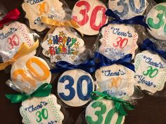 Cheers to 30 birthday celebration - See more of our cookies at http://www.ctcookietreats.com