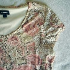 Avenue Lace Overlay floral Blouse Elegant blouse by Avenue size 14-16. Pink, cream, ivory colors with double layers. Made of 100% Nylon. In excellent used condition. Flat lay measurements are 24' length / 22' width. Please let me know if you have any questions before purchasing. 30 % discount when using the bundle feature. Avenue Tops