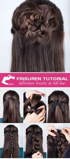 Frisuren Tutorial: Wie Sie die geflochtene Rosette kreieren Braided rosette as a half-bun! The rosette is the brilliant alternative to the half-bun bun. The effective look is easy to style. In the sty Pretty Hairstyles, Braided Hairstyles, Rose Hairstyle, Simply Hairstyles, Newest Hairstyles, Medium Hairstyles, Braided Updo, Half Bun, Half Hair Bun