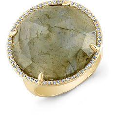 14KT Yellow Gold Labradorite Diamond Fancy Cocktail Ring