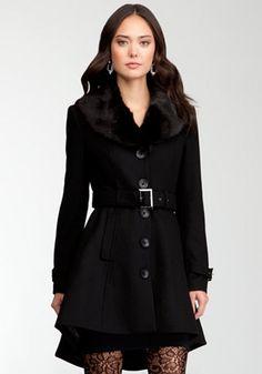 bebe | Hi-Lo Wool Coat - Jackets & Coats
