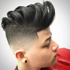 Pompadour high and tight. Wavy hair high and tight. Mohawk Hairstyles For Women, Latest Men Hairstyles, Cool Hairstyles, Natural Hair Mohawk, Natural Hair Styles, Black Men Haircuts, Men's Haircuts, Barber Shop Haircuts, High And Tight Haircut