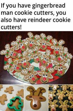 Gingerbread man cutouts double as reindeer face cutouts