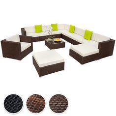XXL Poly Rattan Alu Sitzgruppe Lounge Rattanmöbel Gartenmöbel Sofa Set