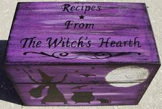 Primitive witch Recipe Box Witches Witch Witchcraft Halloween Folk Art Black Cats Baking Hearth Witch's Kitchen Witch Pagan Wiccan Magic  by SleepyHollowPrims, $31.50 USD