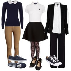 Back to School Uniform Style by little-red15924 on Polyvore featuring polyvore moda style Alexandre Vauthier Neil Barrett Pink Tartan H&M Vans Converse