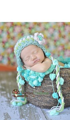 Items similar to Newborn Baby Girl Turquoise, Green and Pink Flower Earflap Crochet Hat, Great for Photo Prop on Etsy
