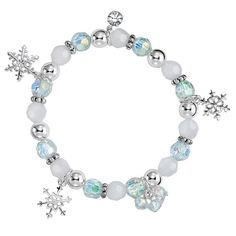"""Frost yourself with this snowflake charm bracelet! The beautiful silvertone stretch bracelet with white, silver and iridescent beads has attached snowflake charms and CZs.Don't miss out on the rest of this collection, shopthe Winter Snowflake 5 pc. Earring Set, 12 Days Until Christmas Bracelet and the Winter Snowflake Watch today!FEATURES•Bracelet measures 7"""" unstretched.•Transparent faceted round beads and white facet beads measue 8mm•Cluster faceted o..."""
