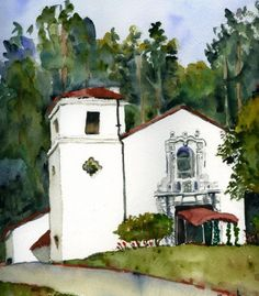 Custom Watercolor House Portrait: Capture the site of your wedding day for posterity! for over the buffet table?.