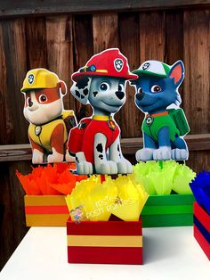 Paw Patrol Birthday Theme Centerpieces for Birthday Candy Buffet or Paw Patrol Favors Table Wood Handcrafted Paw Patrol Theme Party Set of 7 Paw Patrol Birthday Decorations, Paw Patrol Birthday Theme, Birthday Candy, 3rd Birthday, Birthday Party Themes, Cumple Paw Patrol, Party Centerpieces, Paw Patrol Centerpieces, Party Items