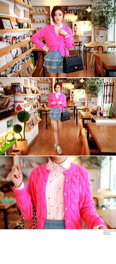Classic Cable Knit Cardigan - I know you wanna kiss me. Thank you for visiting CHUU.