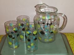 Funky retro ATOMIC Beverage PITCHER and set of 3 GLASSES dots and lines 1950s mid century modern