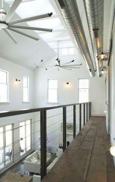 Windram House - Fine Homebuilding WOOD FLOORS WITH STEEL RAILING AND EXPOSED HVAC