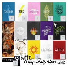 """""""Join the Battle of the Camp Half-Blood Cabins!"""" by morningstar1399 ❤ liked on Polyvore featuring art"""