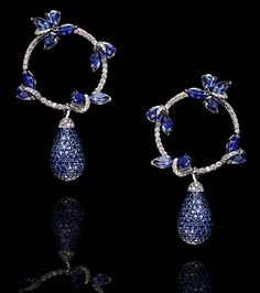 Black Gold Jewelry This beautiful earrings is from LEVIEV .This stunning piece with the design includes butterflies in sapphire and a hoops in sapphire all . Blue Drop Earrings, Sapphire Earrings, Hoop Earrings, Black Gold Jewelry, Sterling Silver Jewelry, Silver Ring, 4 Diamonds, Do It Yourself Fashion, Schmuck Design