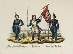 KOSYNIERZY. Dwie ryciny patriotyczne z okresu bezpośrednio po powstaniu listopadowym, ukazujące umundurowanie polskiego wojska.