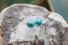 Turquoise Stud Earrings - Sterling Silver wire wrapped turquoise magnesite stud earrings 8mm bead silver jewelry summer outdoors
